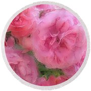 Sweet Pink Roses  Round Beach Towel