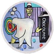 Round Beach Towel featuring the painting Sweet Tooth by Anthony Falbo