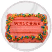 Sweet Welcome Mat Round Beach Towel