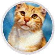 Sweet William Orange Tabby Cat Painting Round Beach Towel