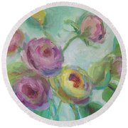 Round Beach Towel featuring the painting Sweetness Floral Painting by Mary Wolf