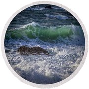 Swells In Doninos Beach Galicia Spain Round Beach Towel