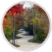 Round Beach Towel featuring the photograph Swervy Road At North Port by David T Wilkinson