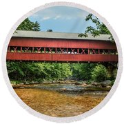 Round Beach Towel featuring the photograph Swift River Covered Bridge Hew Hampshire by Debbie Green