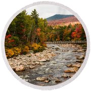 Swift River Painted With Autumns Paint Brush Round Beach Towel