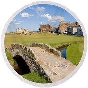 Swilcan Bridge On The 18th Hole At St Andrews Old Golf Course Scotland Round Beach Towel