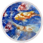 Swimming Koi Fish Round Beach Towel