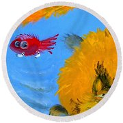 Swimming Of A Yellow Cat Round Beach Towel by Marina Gnetetsky
