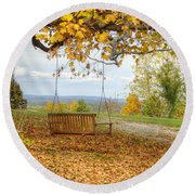 Swing With A View Round Beach Towel