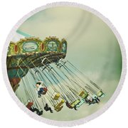 Swingin' - Santa Cruz Boardwalk Round Beach Towel