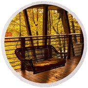 Swinging In Autumn Trees Original Photograph Round Beach Towel by Jerry Cowart