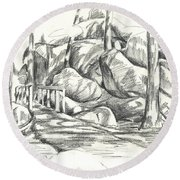 Swirling Cast Shadows At Elephant Rocks  No Ctc101 Round Beach Towel