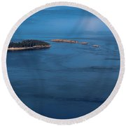 Round Beach Towel featuring the photograph Swirling Currents by Jacqui Boonstra