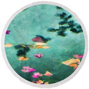 Swirling Leaves And Petals 6 Round Beach Towel