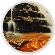 Swirling Leaves Round Beach Towel by Rodney Lee Williams