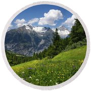 Switzerland Bietschhorn Round Beach Towel