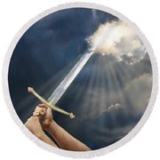 Sword Of The Spirit Round Beach Towel