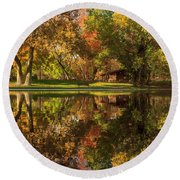 Sycamore Reflections Round Beach Towel by James Eddy