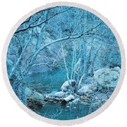 Sycamores And River Round Beach Towel by Kerri Mortenson