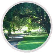 Round Beach Towel featuring the photograph Sydney Botanical Gardens Walk by Leanne Seymour