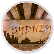 Sydney Graffiti Skyline Round Beach Towel by Semmick Photo