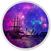 Sydney Harbour Through Time And Space Round Beach Towel by Leanne Seymour