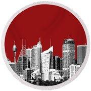 Sydney Skyline 1 - Dark Red Round Beach Towel