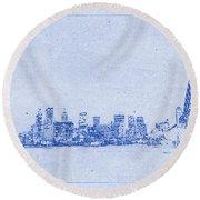 Sydney Skyline Blueprint Round Beach Towel