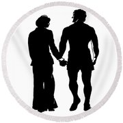 Sylvester Stallone And Talia Shire In Rocky Round Beach Towel