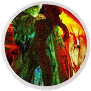 Round Beach Towel featuring the painting Symbiosis by Henryk Gorecki