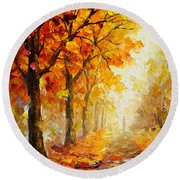 Symbols Of Autumn - Palette Knife Oil Painting On Canvas By Leonid Afremov Round Beach Towel by Leonid Afremov
