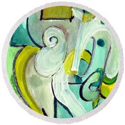 Round Beach Towel featuring the painting Symphony In Green by Stephen Lucas
