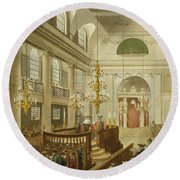 Synagogue At Dukes Place In Houndsditch Round Beach Towel