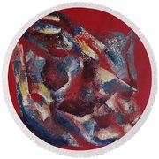 Round Beach Towel featuring the painting Syncopation by Mini Arora