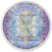 Synthecentered Doublestar Chalice In Blueaurayed Multivortexes On Tapestry Lg Round Beach Towel