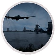 Dambusters Lancaster T For Tommy En Route To The Sorpe Round Beach Towel by Gary Eason
