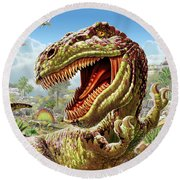 T-rex And Dinosaurs Round Beach Towel