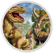 T-rex And Triceratops Round Beach Towel