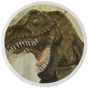 Round Beach Towel featuring the painting T-rex..... Run by Kelly Mills