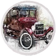 The 1926 Ford Model T Round Beach Towel
