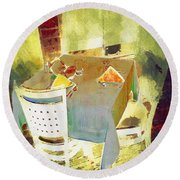Table At The Fauve Cafe Round Beach Towel