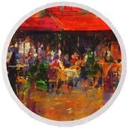 Table At Villefranche Oil On Canvas Round Beach Towel