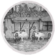 Table For Three Black And White Round Beach Towel