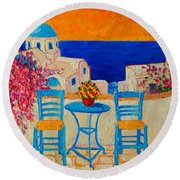 Table For Two In Santorini Greece Round Beach Towel