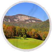 Table Rock In Autumn Round Beach Towel by Lydia Holly