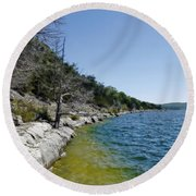Table Rock Lake Shoreline Round Beach Towel