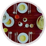 Tableware Set On A Wooden Table Round Beach Towel