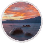 Tahoe Burning Round Beach Towel