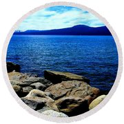 Round Beach Towel featuring the photograph Tahoe Magic by Bobbee Rickard