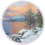 Tahoe Winter Colors Round Beach Towel